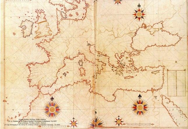Piri Reis'in Avrupa Kıtası ve Akdeniz için çizdiği harita.