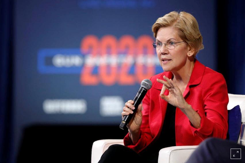 Başkan adayı Senatör Elizabeth Warren, silah güvenliği kuruluşlarından Giffords ve March For Your Lives'in Las Vegas'ta düzenlediği bir forumda kendisine yöneltilen soruya yanıt veriyor. (REUTERS/Steve Marcus)