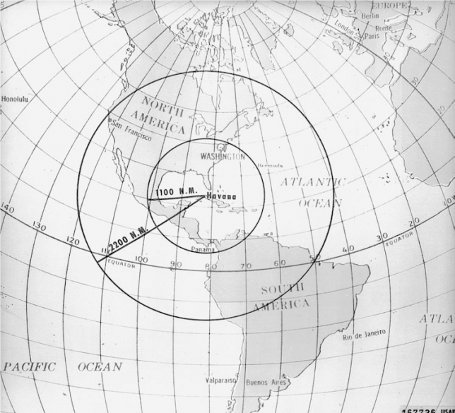 Küba'daki füzelerin etki alanı haritası
